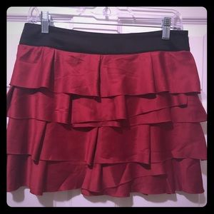Red Satin Ruffle Mini Skirt